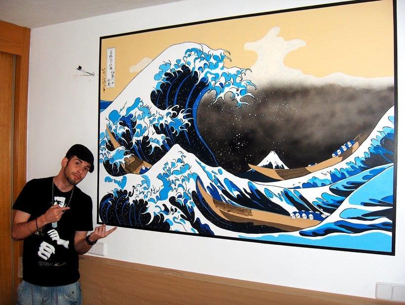 Mural: La Gran Ola de Kanagawa de Katsushika Hokusa 6