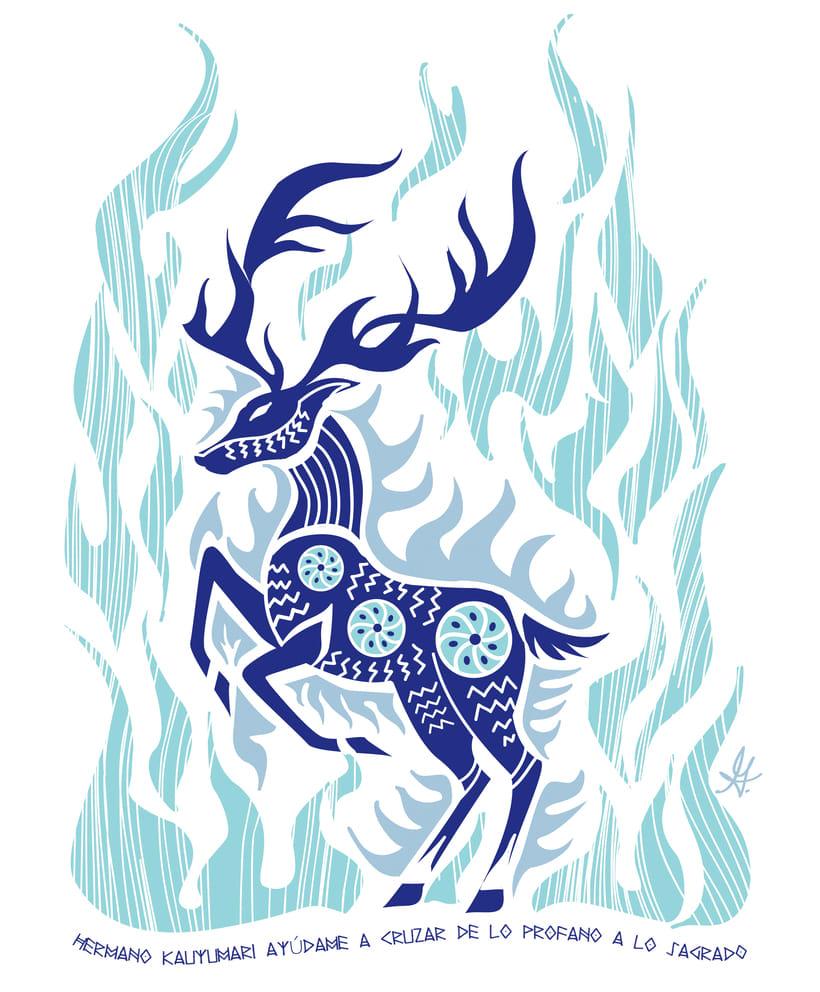 Ilustración para el concurso de camisetas Ilústram'esta, el venado de la cultura huichol, Kauyumari. -1