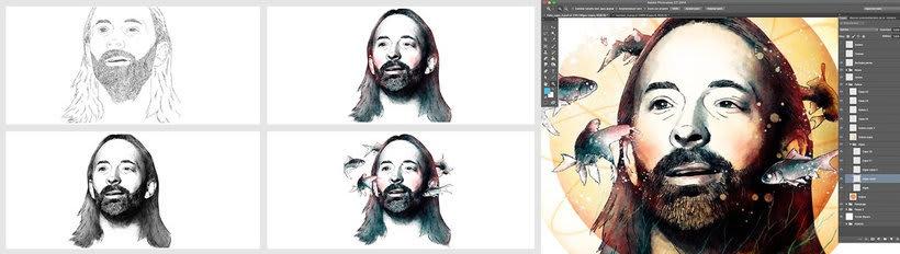 """Thom Yorke, retrato para mi curso """"Retrato ilustrado con Photoshop"""" 2"""