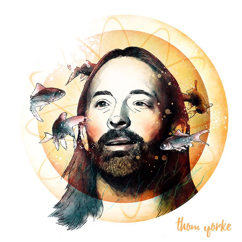 """Thom Yorke, retrato para mi curso """"Retrato ilustrado con Photoshop"""" 0"""