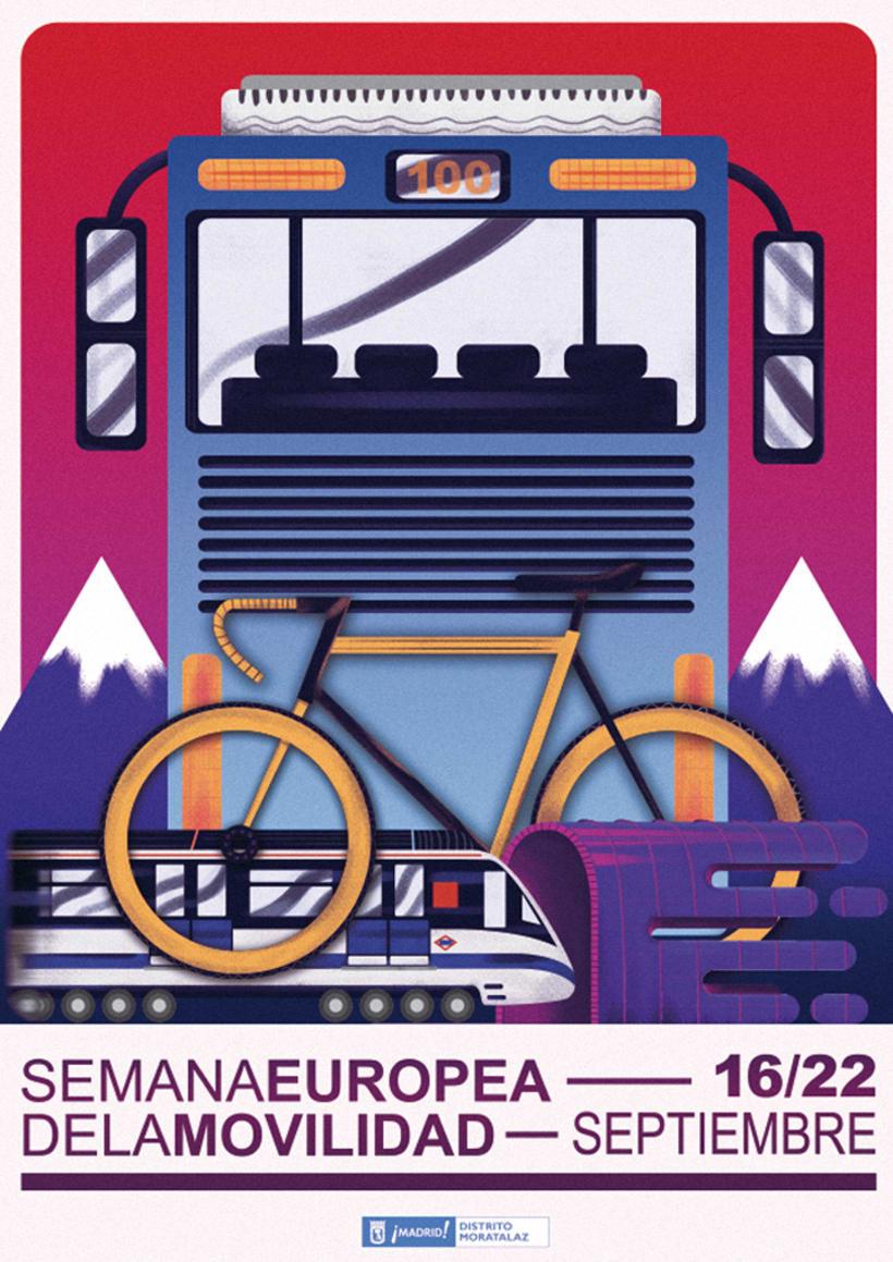Cartel para la semana europea de la movilidad - Moratalaz 0
