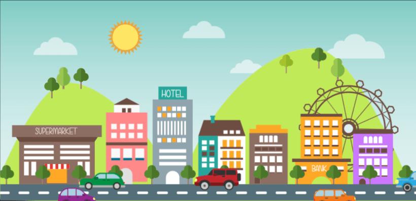 Animación vectorial: ciudad 0