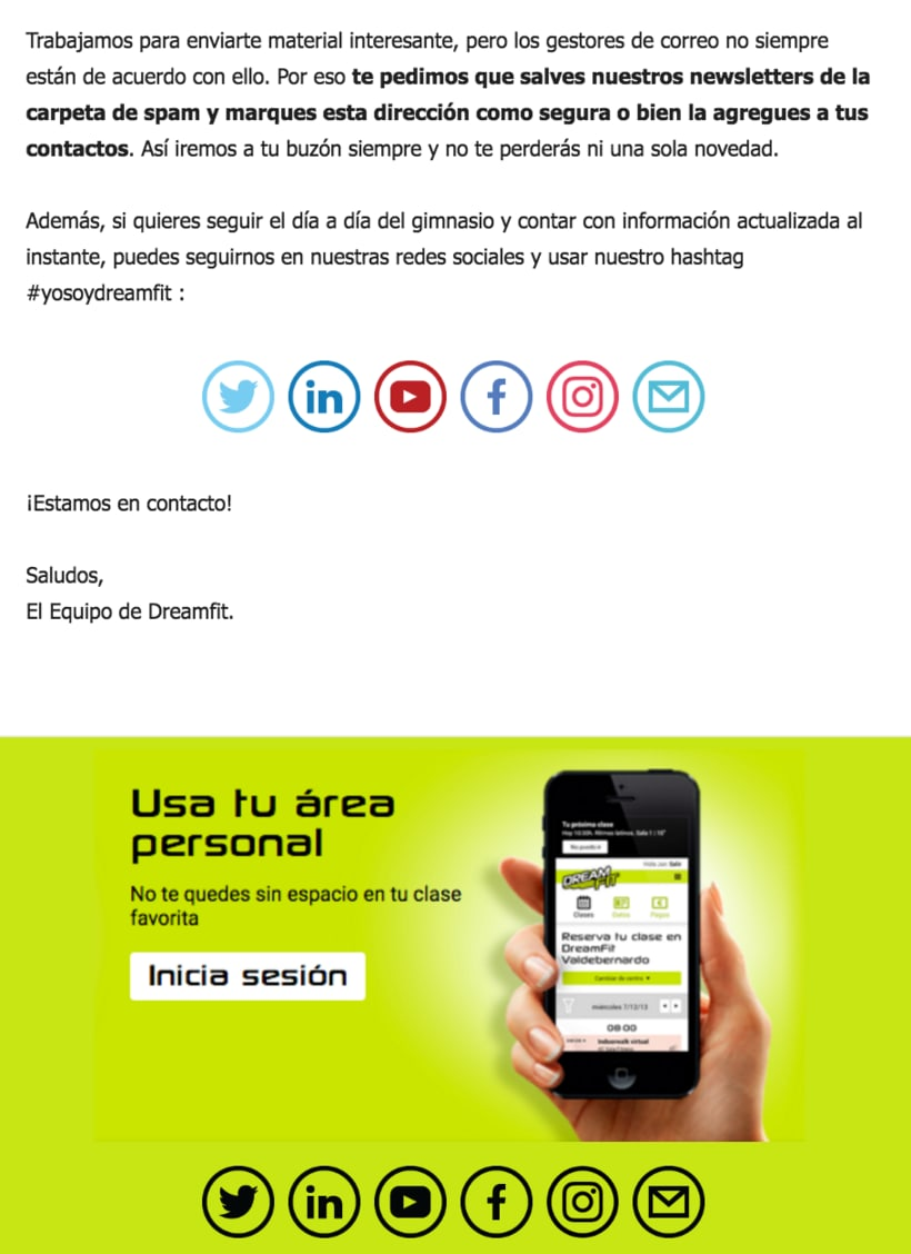 Diseño Campaña DreamFit - Email Marketing 0