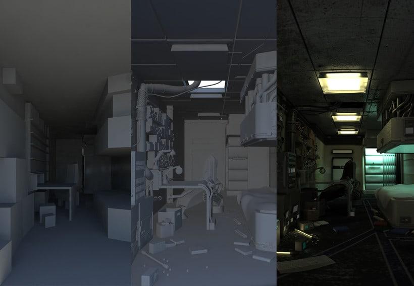 Texturing and Lighting Hitech room. Inspired in Cornelius Dämmrich work 0