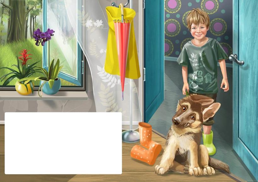 """Ilustraciones para el libro de niños """"yo soy perro el pastor"""" 1"""