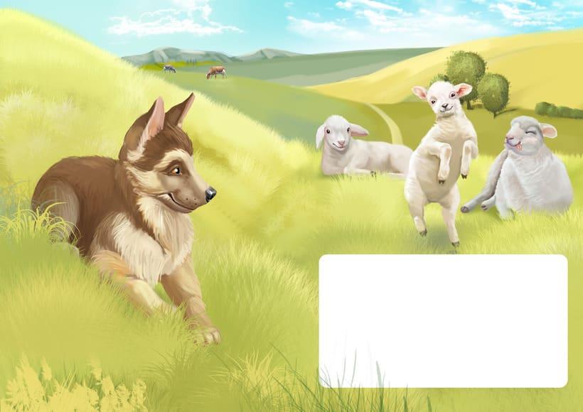 """Ilustraciones para el libro de niños """"yo soy perro el pastor"""" 4"""