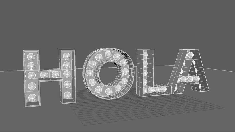 Práctica logo 3D iluminado. Render VRay. 1