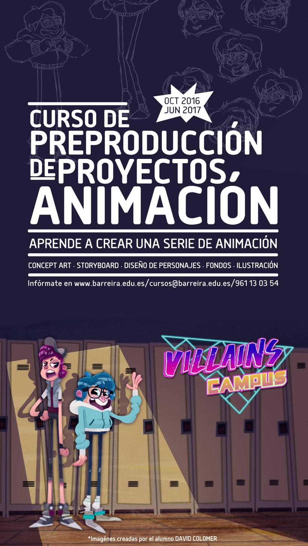 Curso de Preproducción de Proyectos de Animación (ilustración, concept art, storyboard, diseño de personajes) 1
