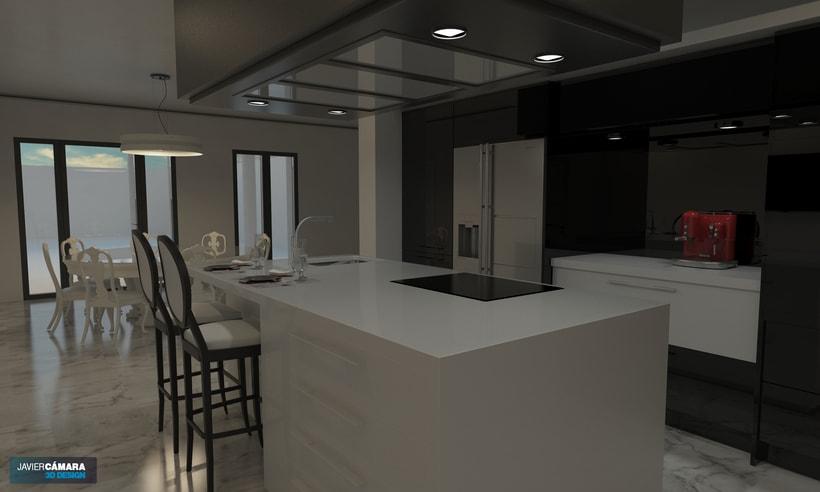 3D American kitchen - Interior Design 1