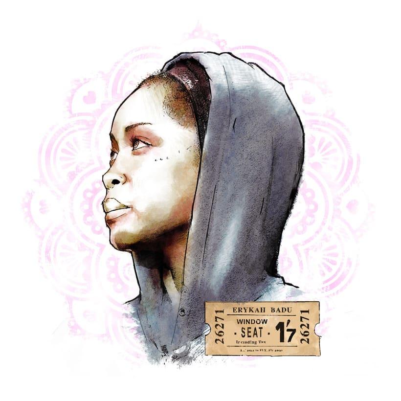 Erykah Badu | Mi Proyecto del curso: Retrato ilustrado con Photoshop 0