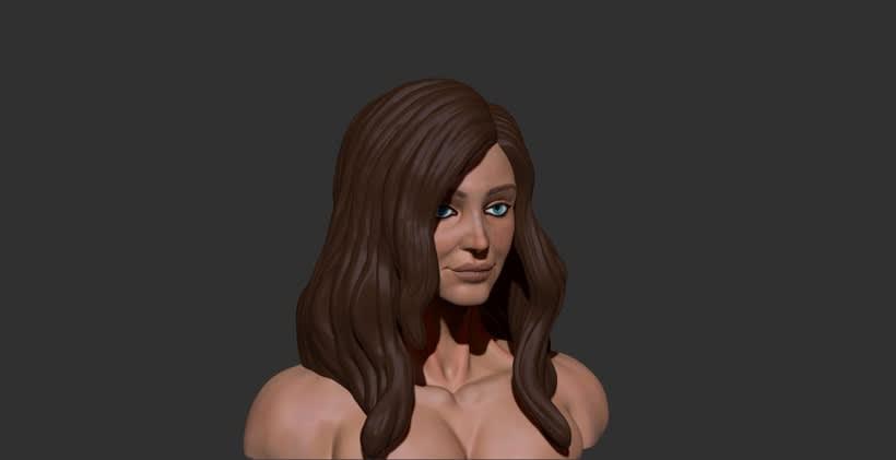 Esculpido y textura del Busto de mujer 1
