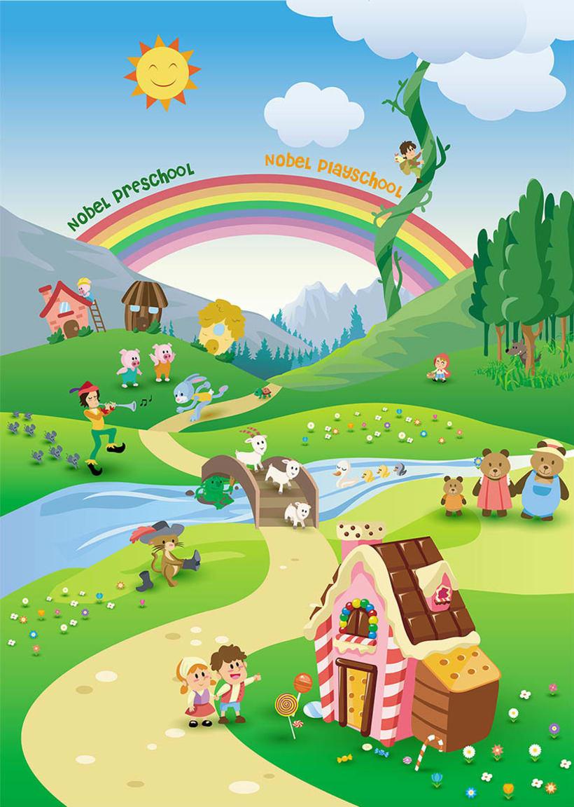 Vinilo: diseño ilustración mural para guardería Nobel Preschool en Hong Kong 1