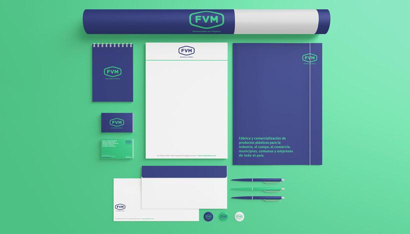 Rediseño de imagen para FVM una empresa dedicada a la fabricación y comercialización de productos plásticos para la industria, el campo, el comercio, municipios, comunas y empresas. 2