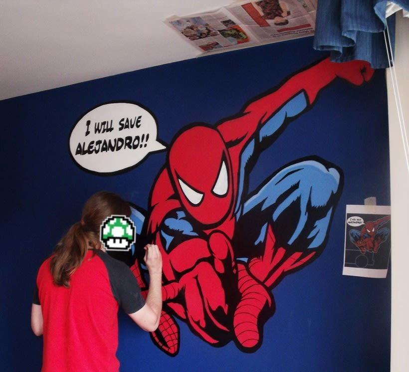 Spiderman. Mural habitación infantil. Aerosol+Acrilico. 4