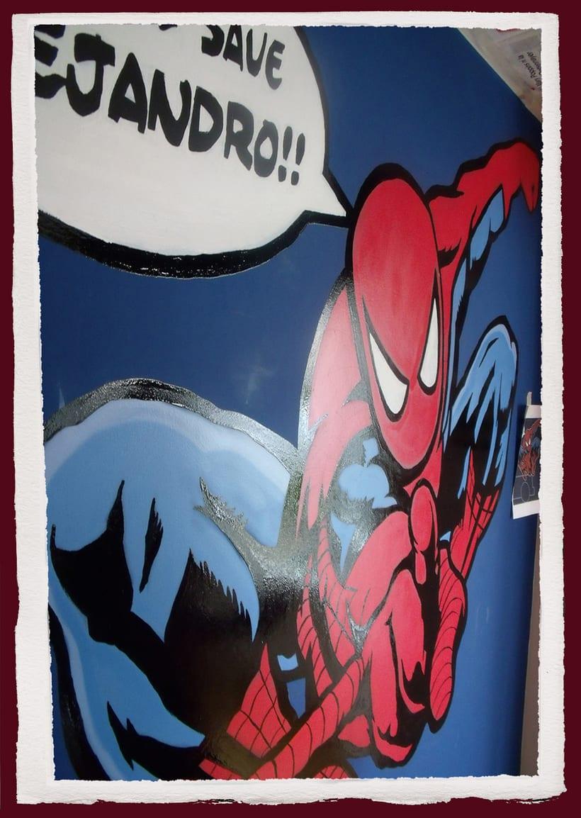 Spiderman. Mural habitación infantil. Aerosol+Acrilico. 2