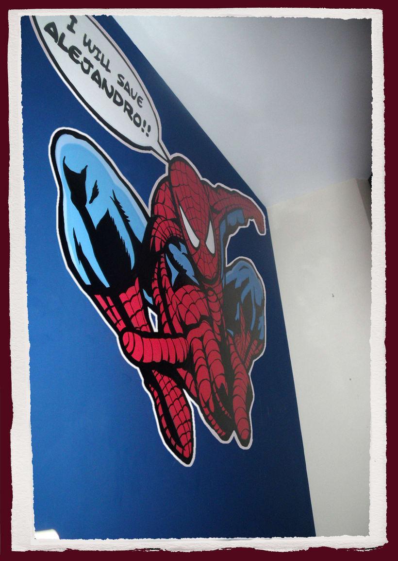 Spiderman. Mural habitación infantil. Aerosol+Acrilico. 1