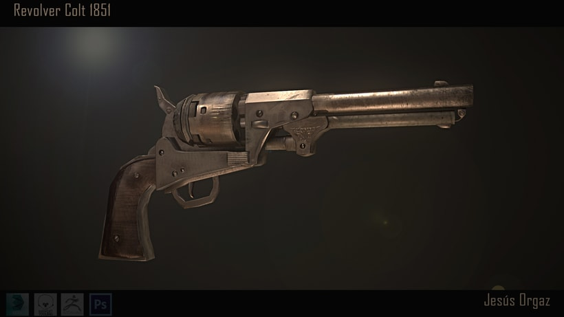 Revolver Colt 1851 Low poly 0