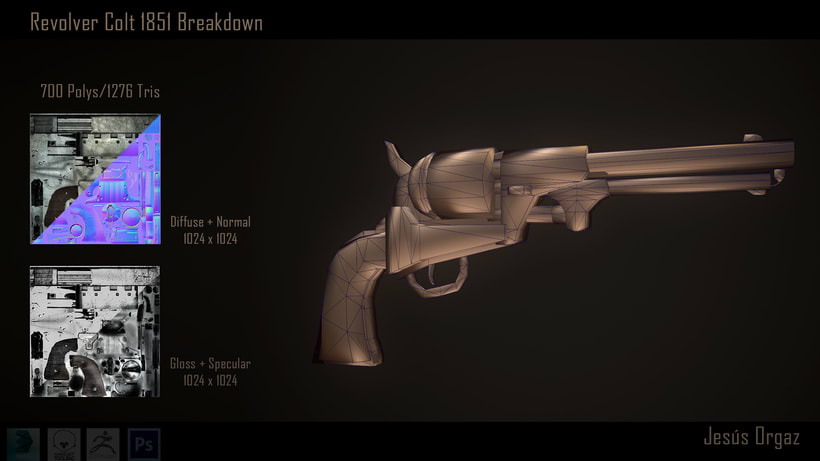 Revolver Colt 1851 Low poly 1