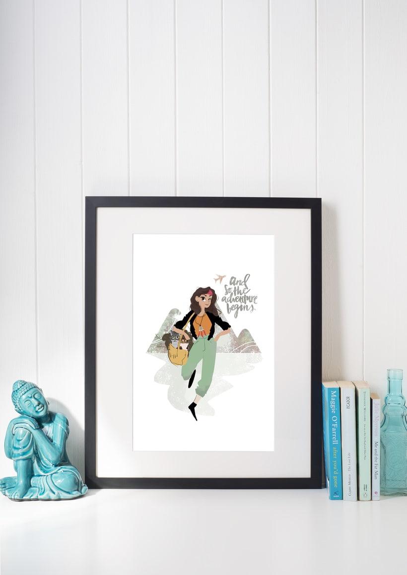 Ilustración personalizada para chica viajera -1