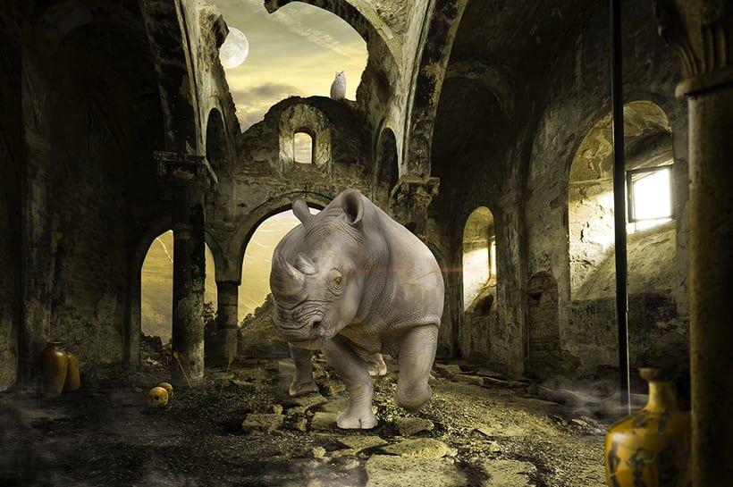 Proyecto Final Secretos del fotomontaje y el retoque creativo Ruined Rhino -1