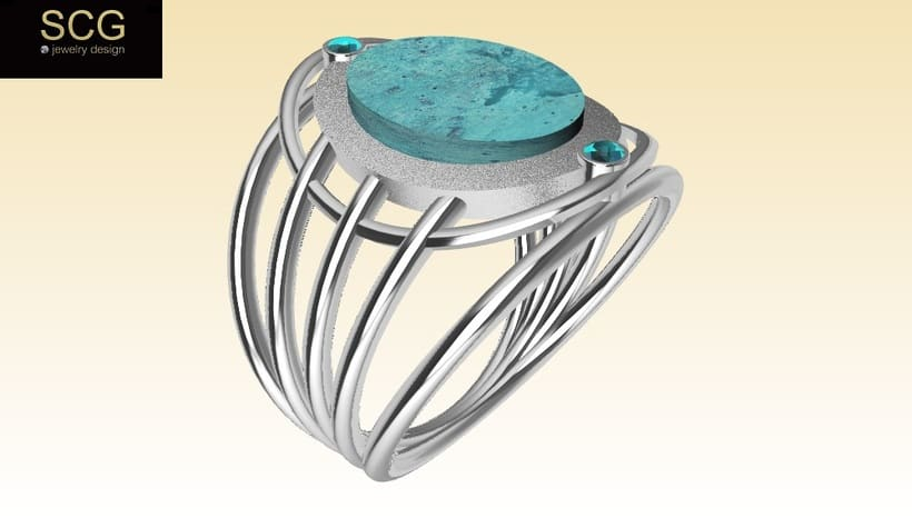 Ring with turquoise, wood and other... -1