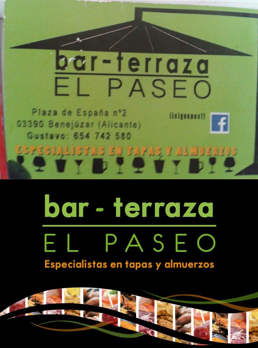 Logotipo y tarjetas de visita Bar terraza El Paseo 2