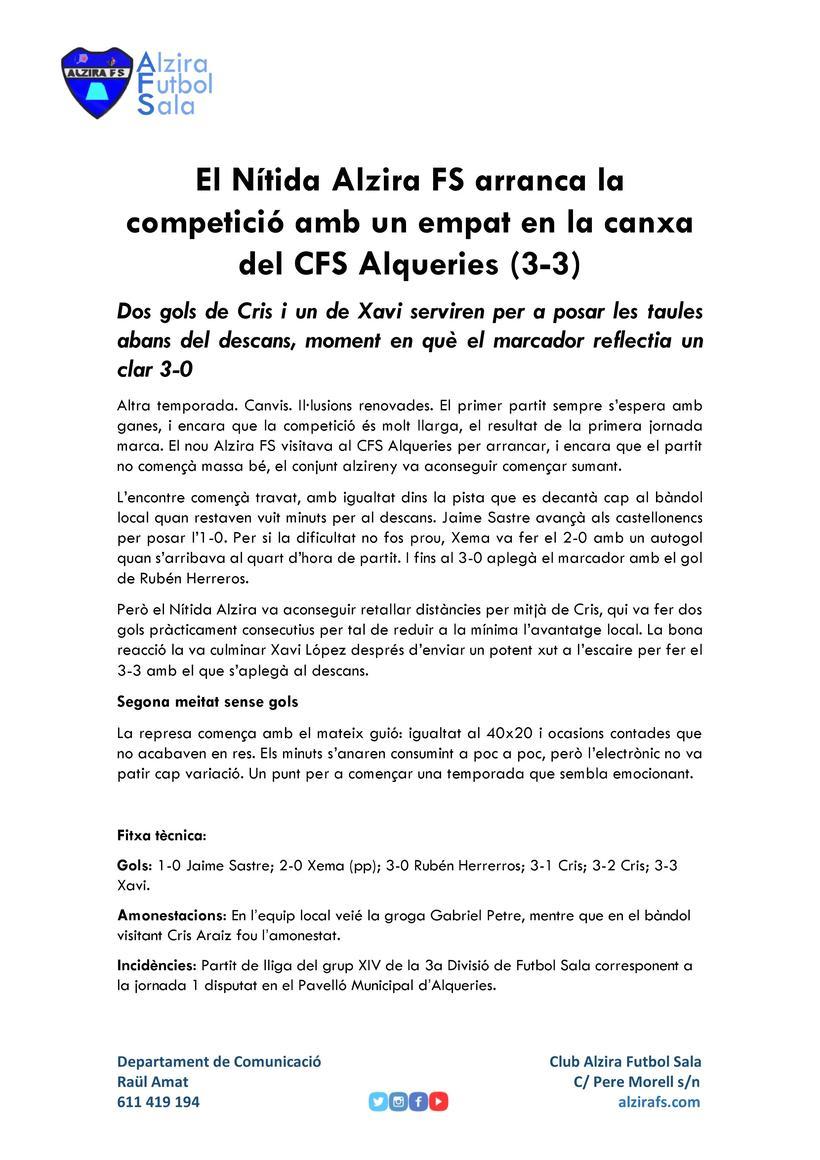 Comunicación |  Alzira Futbol Sala 3