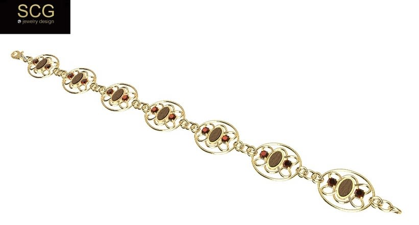 Special bracelet with wood and gems -1