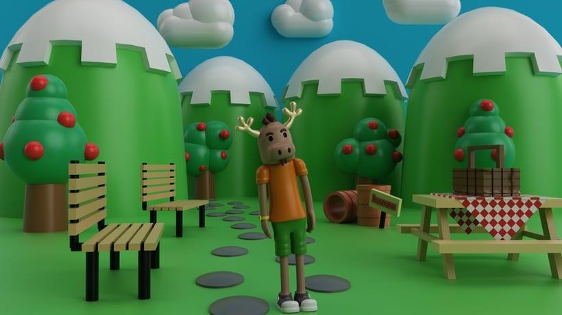"""Mi propio personaje creado en 3D: """"Renato"""",  el reno simpático y de pocas palabras. 1"""