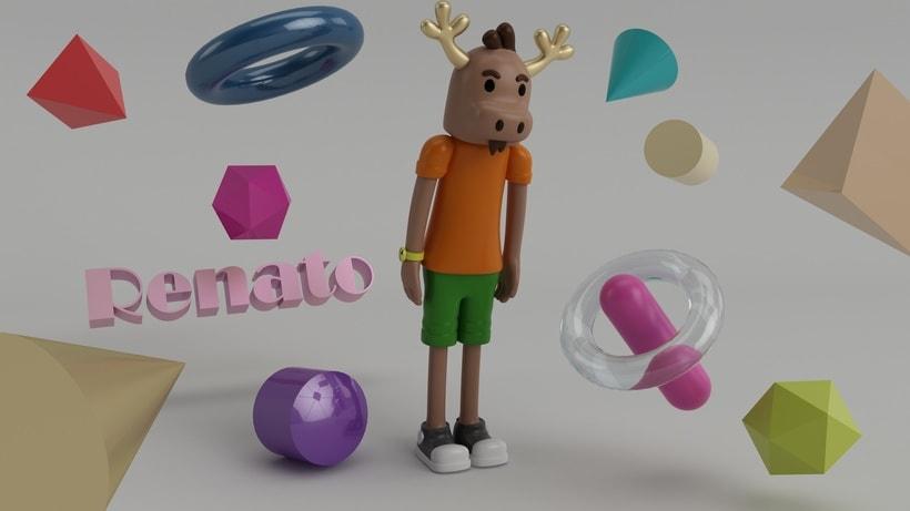 """Mi propio personaje creado en 3D: """"Renato"""",  el reno simpático y de pocas palabras. 5"""