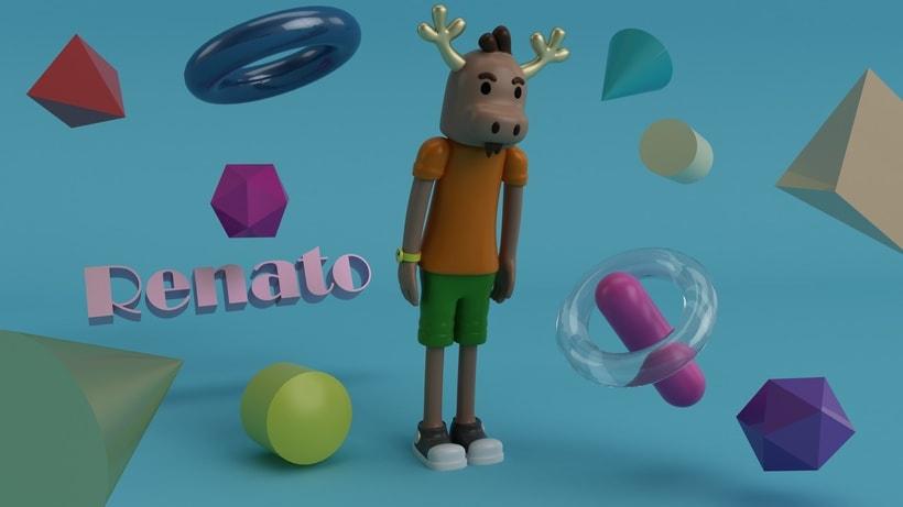 """Mi propio personaje creado en 3D: """"Renato"""",  el reno simpático y de pocas palabras. 7"""