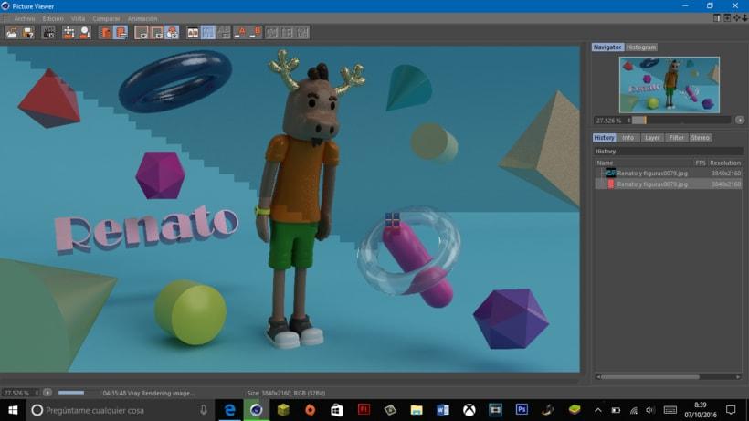 """Mi propio personaje creado en 3D: """"Renato"""",  el reno simpático y de pocas palabras. 9"""