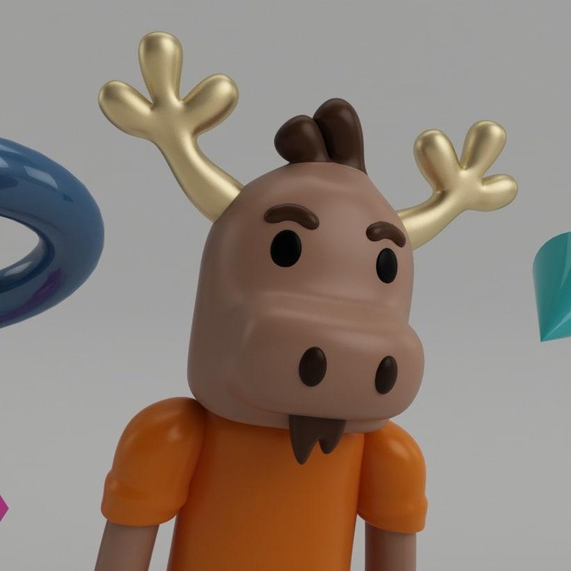 """Mi propio personaje creado en 3D: """"Renato"""",  el reno simpático y de pocas palabras. 15"""