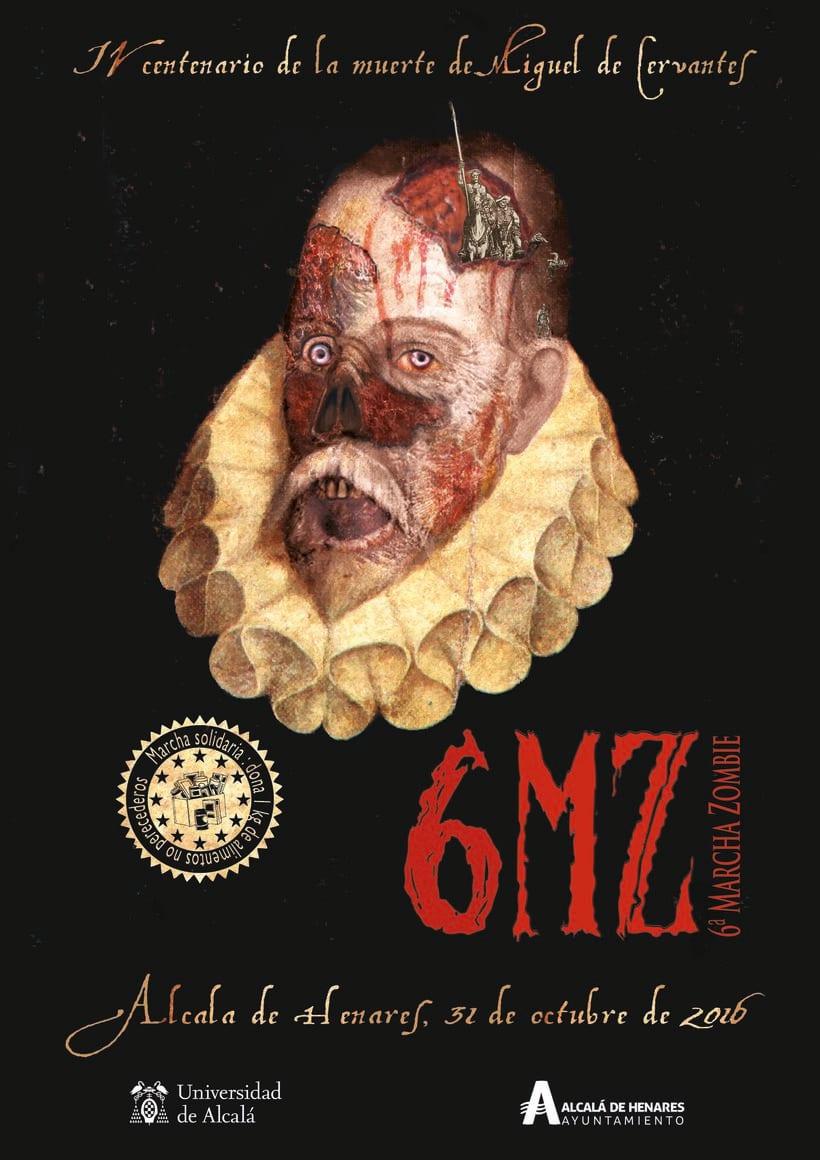 Cartel para la 6ª Marcha Zombie de Alcalá de Henares, con motivo de Halloween. -1