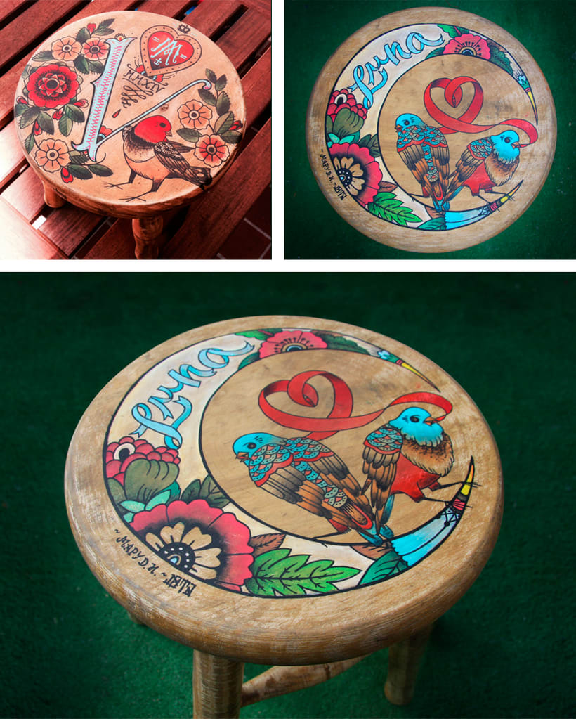 VICTORIA & LUNA · Custom painted baby-stools 0