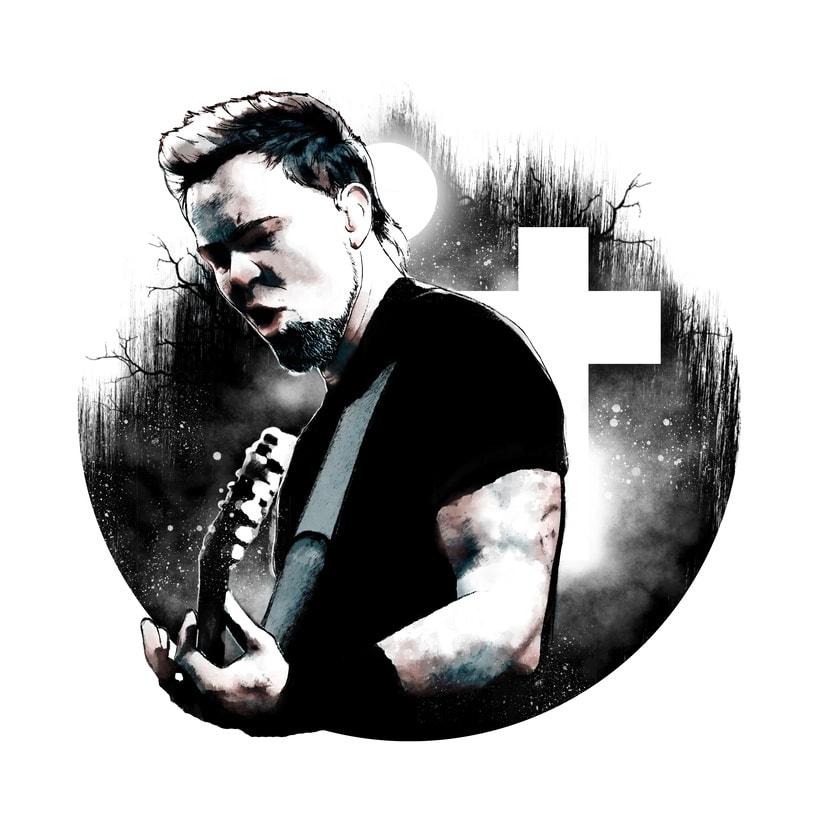 James Hetfield: Retrato ilustrado con Photoshop 0
