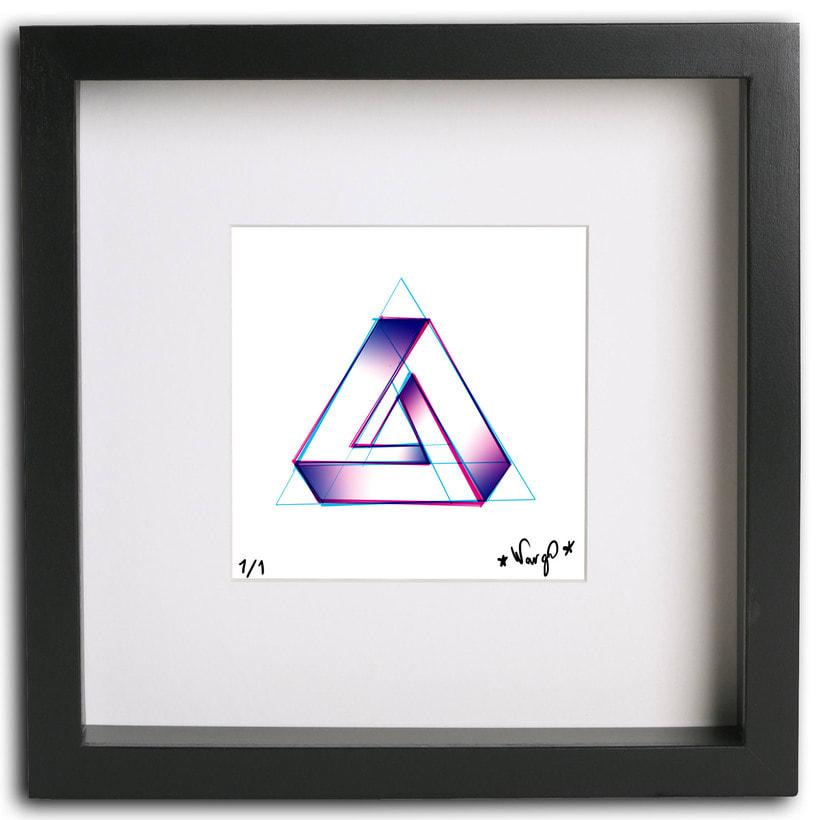 Triángulo imposible con risografía imitada -1