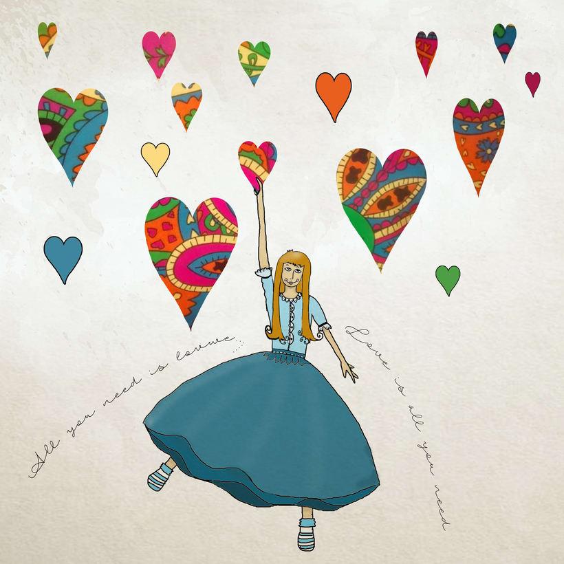 Mi Proyecto del curso: Ilustración original de tu puño y tableta - All you need is love 0