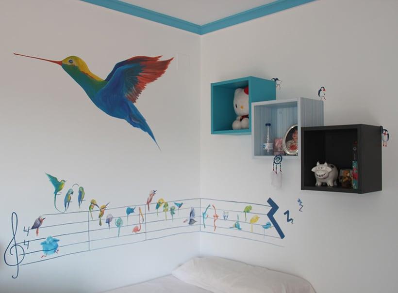 Mural pajaroleando domestika for Mural habitacion juvenil