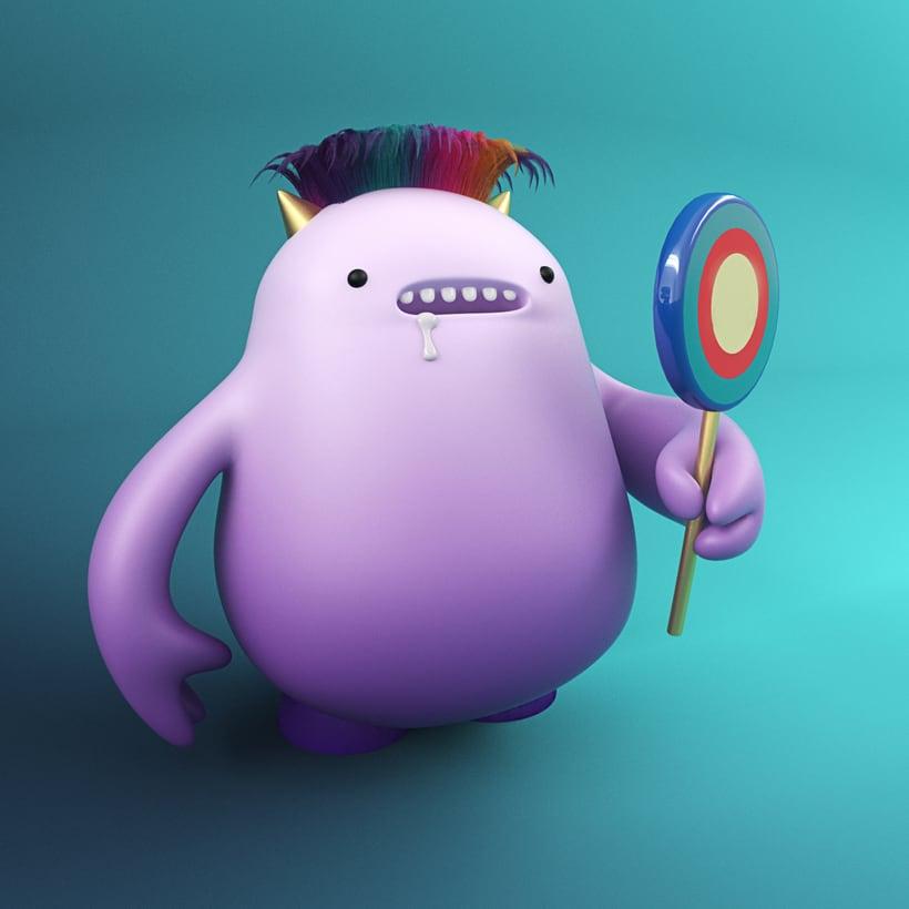 Mi Proyecto de personajes en cinema 4d: el Soñador y el monstruo de la piruleta 0