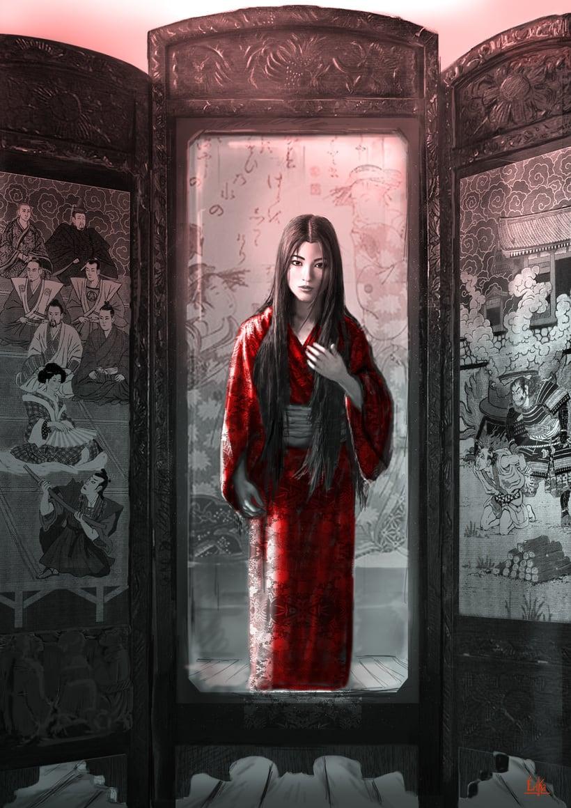 """Ilustración de la portada y páginas interiores de la novela histórica de fantasía Hiken: la historia de Joyko precuela de la trilogía """"Las Crónicas del Bien y del Mal"""" 3"""