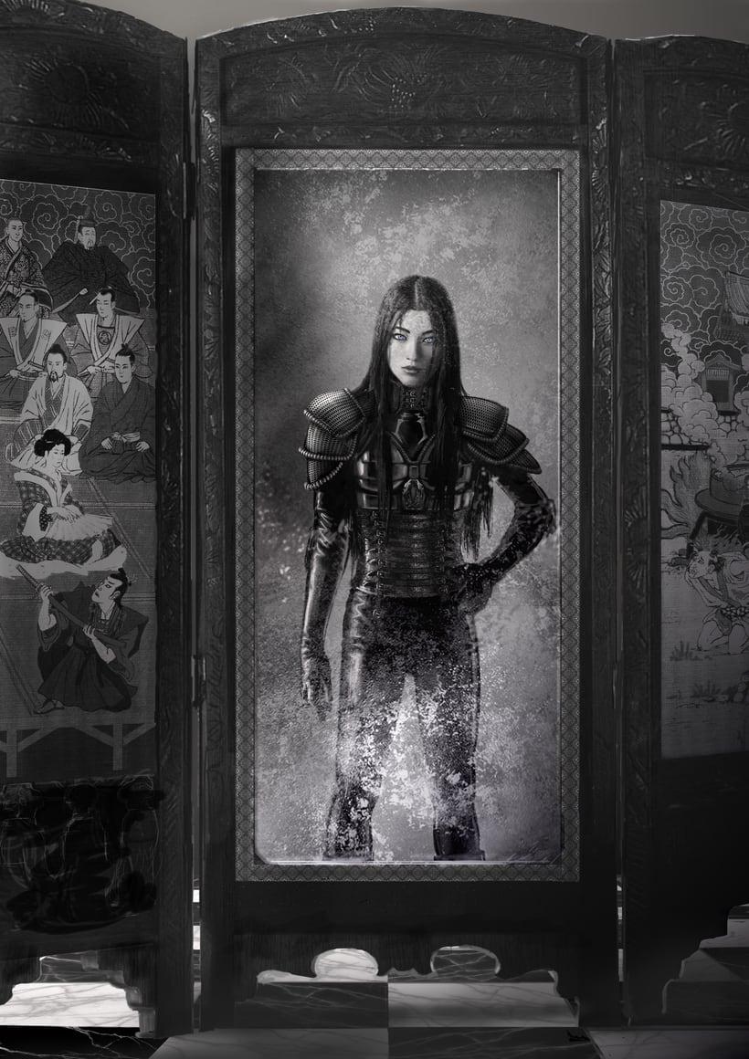 """Ilustración de la portada y páginas interiores de la novela histórica de fantasía Hiken: la historia de Joyko precuela de la trilogía """"Las Crónicas del Bien y del Mal"""" 4"""