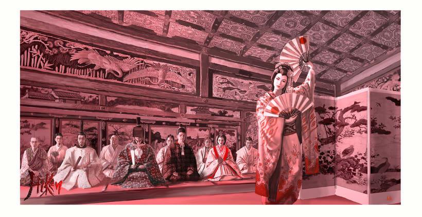 """Ilustración de la portada y páginas interiores de la novela histórica de fantasía Hiken: la historia de Joyko precuela de la trilogía """"Las Crónicas del Bien y del Mal"""" 7"""