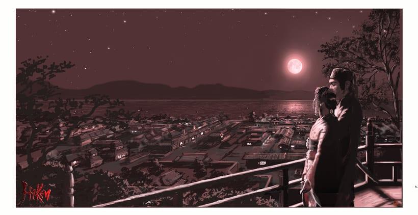 """Ilustración de la portada y páginas interiores de la novela histórica de fantasía Hiken: la historia de Joyko precuela de la trilogía """"Las Crónicas del Bien y del Mal"""" 8"""