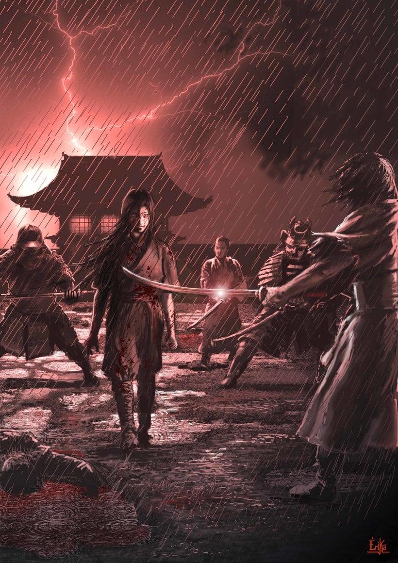 """Ilustración de la portada y páginas interiores de la novela histórica de fantasía Hiken: la historia de Joyko precuela de la trilogía """"Las Crónicas del Bien y del Mal"""" 9"""