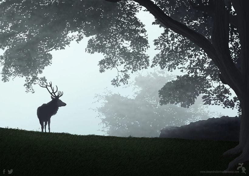 Ilustración, paisaje y un ciervo 1