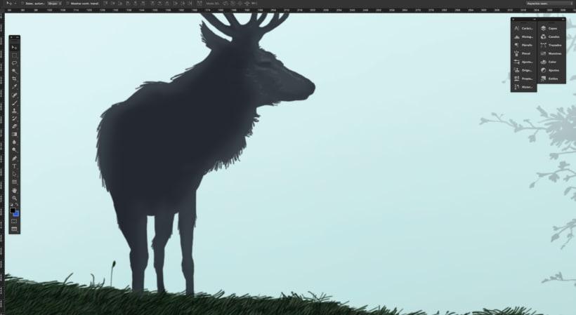 Ilustración, paisaje y un ciervo 2