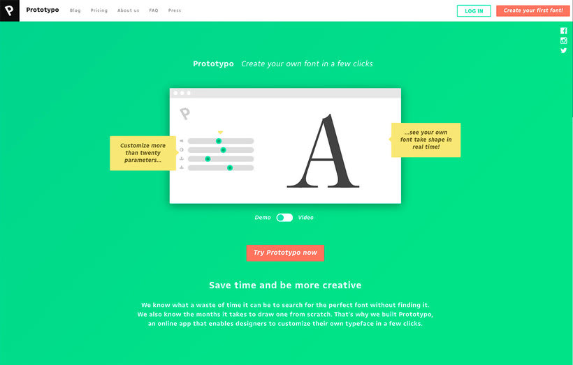 Prototypo permite customizar tipografías 1