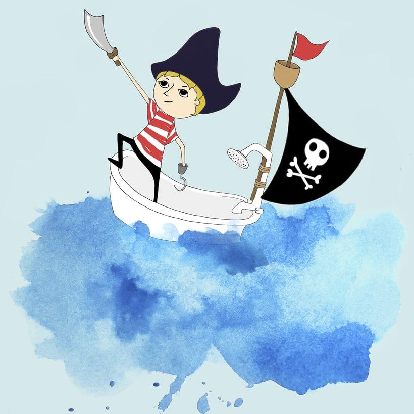 Ilustración infantil; carátula cd canciones piratas para niños. 0