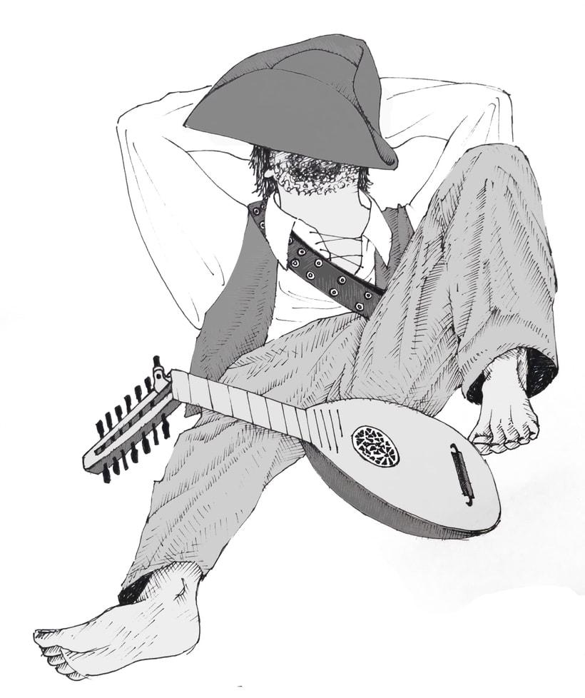 """Ilustración; """"en la piratería del siglo XV, los músicos descansaban los Sábados"""" 2"""